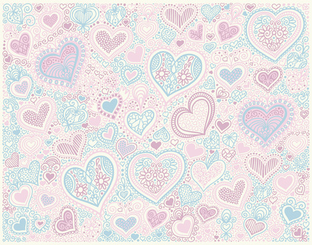 pastel colors: original hand drawing heart shape background in pastel colors to