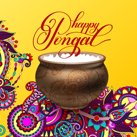 happy pongal handwritten ink lettering inscription