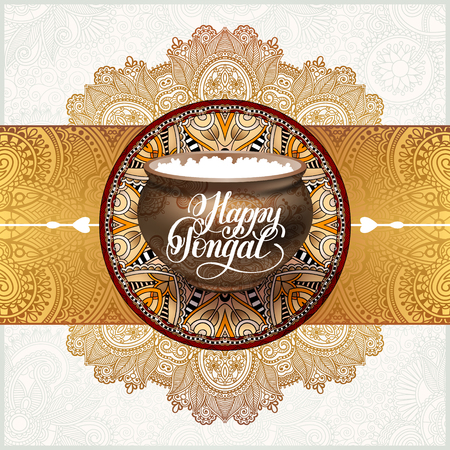 happy pongal handwritten ink lettering inscription on floral pai