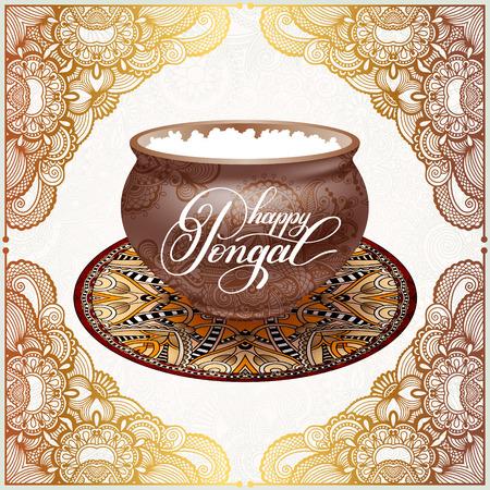 auspicious: happy pongal handwritten ink lettering inscription on floral pai