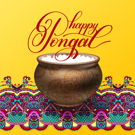 auspicious words: happy pongal handwritten ink lettering inscription on floral pai