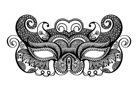lineart: black lineart venetian carnival mask silhouette