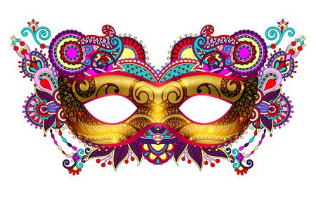 3d gouden Venetiaanse carnaval masker silhouet met decoratieve bloemen Stockfoto - 68550138