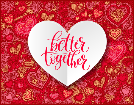 Better Together Vector Text Phrase Illustration, Love or Friends