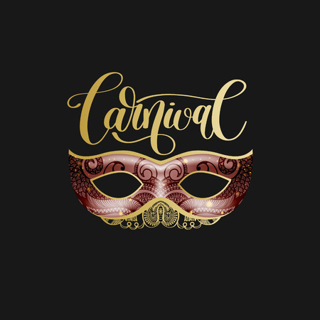 carnival lettering logo design with mask and hand written word Illustration