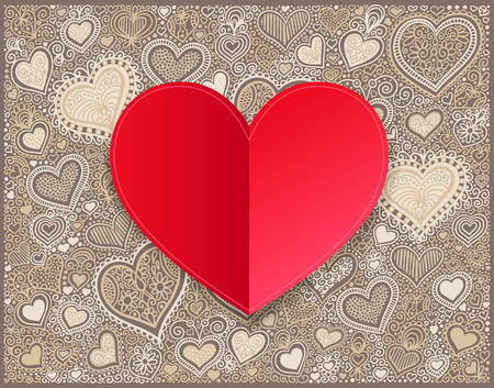 drawing paper: Valentines day red paper hand drawing on heart shape background Illustration