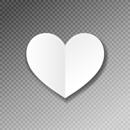 white paper heart shape origami with shadow on transparence back Vectores