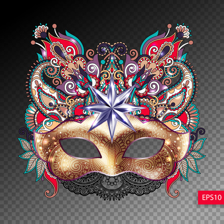 3d gold venetian carnival mask silhouette with ornamental feathe
