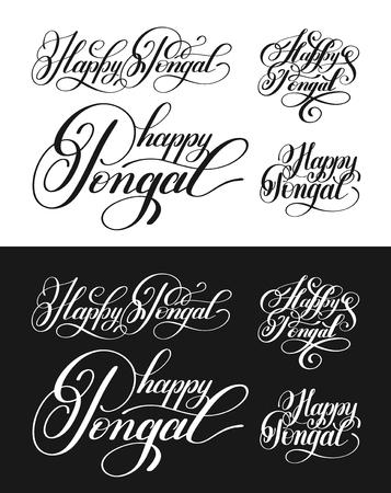 auspicious words: happy pongal handwritten ink lettering inscription