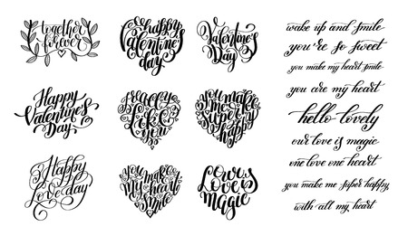scripts: set of happy valentines day handwritten lettering holiday design