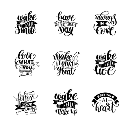 make my day: set of handwritten lettering positive quote about life