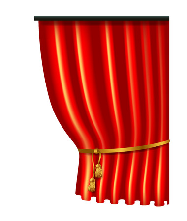 3d red luxury silk curtain, realistic interior decoration velvet Illustration