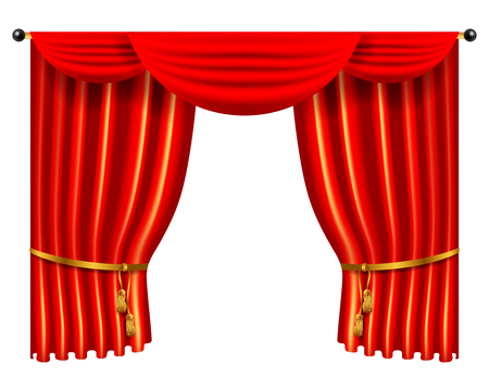 interior decoration: 3d red luxury silk curtain, realistic interior decoration velvet Illustration
