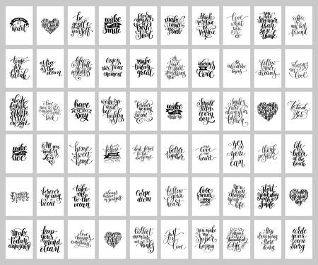 メガ 60 手書きのレタリングの肯定的な心に強く訴える現状のセット  イラスト・ベクター素材