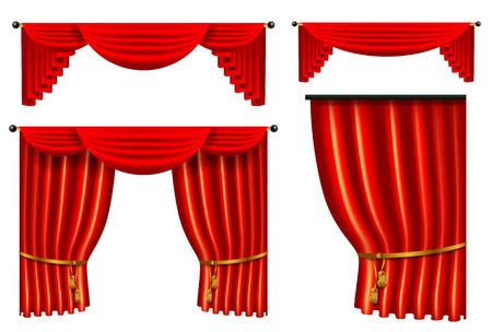 pall: set of 3d red luxury silk curtain, realistic interior decoration