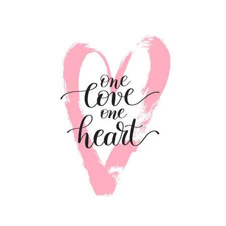 one on one: one love heart handwritten lettering quote