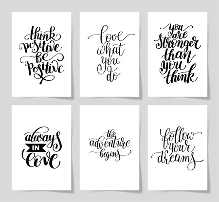 writting: set of 6 hand written lettering positive inspirational quote
