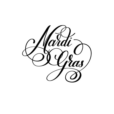 parade: mardi gras black and white calligraphic lettering poster to carn