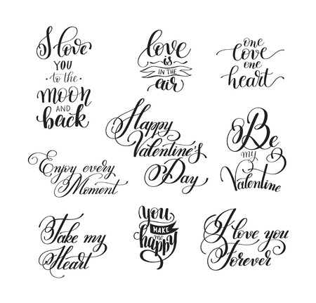 scripts: set of handwritten lettering positive quote about love to valent