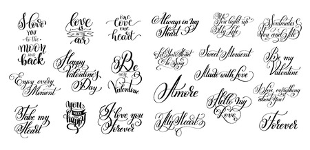 set of black and white hand written lettering about love to vale