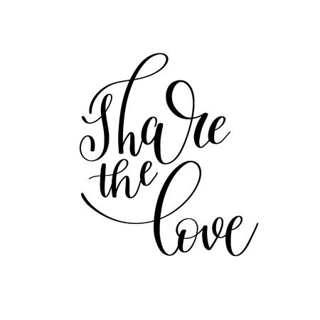 wrote: share the love black and white hand written lettering romantic q Illustration