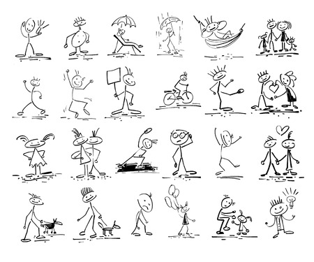 bocetos de personas: hand drawing sketch doodle human stick figure