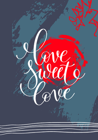 abstract love: love sweet love hand written lettering on abstract painting patt