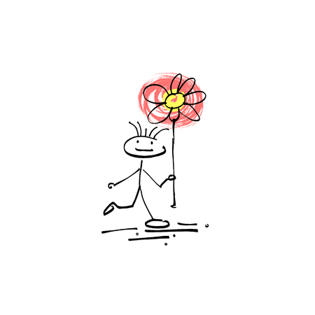 bocetos de personas: hand drawing sketch human smile stick figure flower