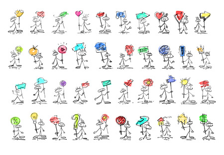 bocetos de personas: set of 40 hand drawing sketch human smile stick figure with diff Vectores