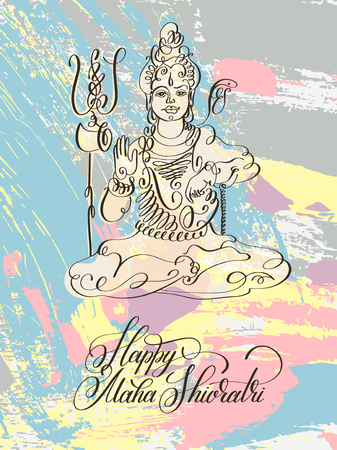 poster design: Happy Maha Shivratri black and white line art greeting card