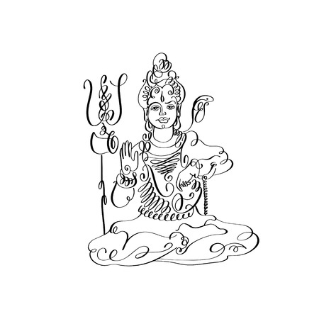 ashram: line art Lord Shiva black and white calligraphic drawing