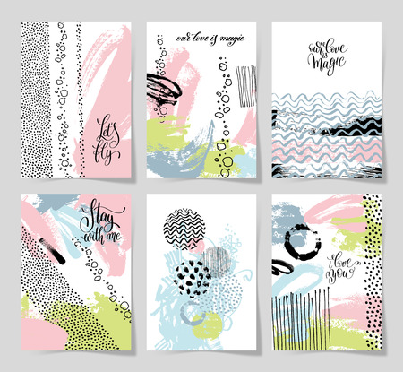 abstract love: set of 6 abstract painting background with love hand written let Illustration