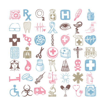 49 hand drawing doodle different icon set medical theme
