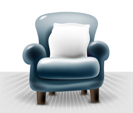 dark room: dark blue leather chair with a white pillow in light interior
