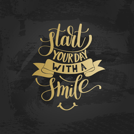 Start Your Day With a Smile vector gold Text Phrase Illustration