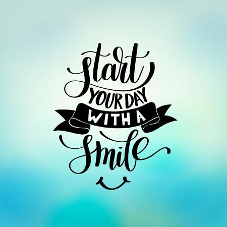 Start Your Day With a Smile vector Text Phrase Illustration Ilustração Vetorial