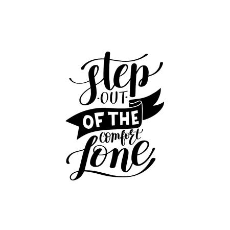 stap uit de comfort zone handgeschreven letters positieve mot