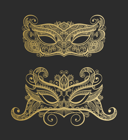 white mask: set of two gold lineart venetian carnival lace mask silhouette Illustration