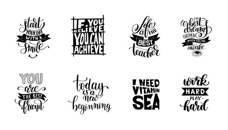 set of handwritten lettering positive quote about life, calligraphy vector illustration typography poster collection