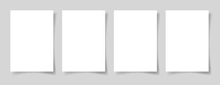 Cuatro piezas en blanco hoja A4 de papel blanco Foto de archivo - 74296618