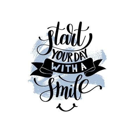 Begin je dag met een glimlach vector tekstfrase illustratie