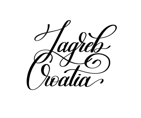 hand lettering the name of the European capital - Zagreb Croatia