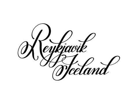 hand lettering the name of the European capital - Reykjavik Icel