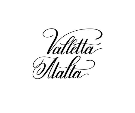 hand lettering the name of the European capital - Valletta Malta Illustration