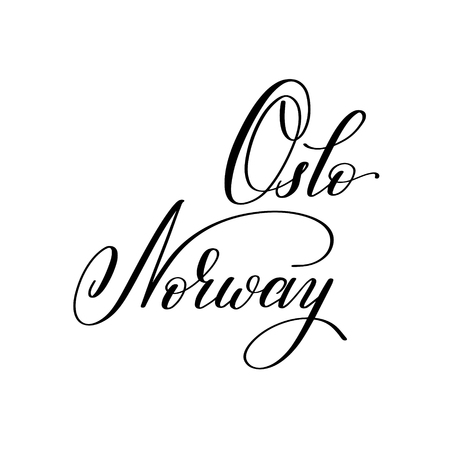 hand lettering the name of the European capital - Oslo Norway