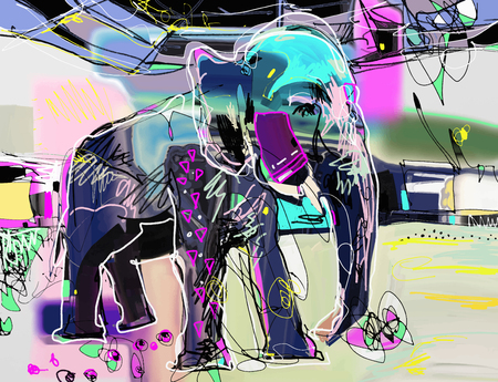 Abstract memphis digital painting of indian elephant