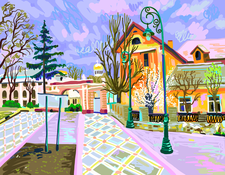 digital painting of rural landscape