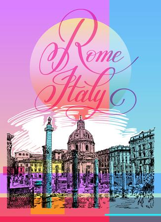 contemporary design: Contemporary art poster design of Rome Italy Illustration