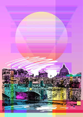 Contemporary art poster design of Rome Italy Illustration