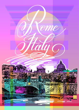 italy street: Contemporary art poster design of Rome Italy Illustration